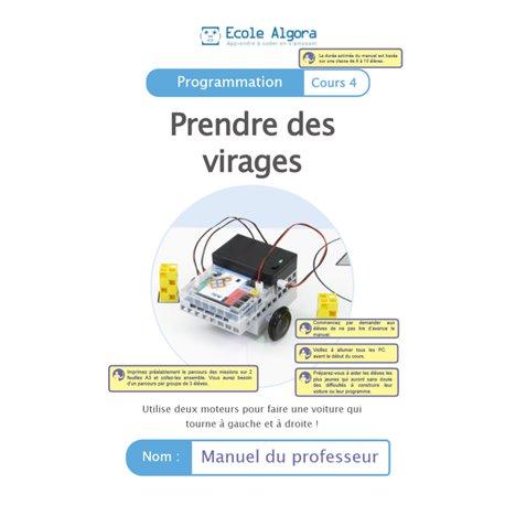 """Livret Algora (6-9 ans) - programmation 4 """"Prendre des virages"""" - 1 professeur"""