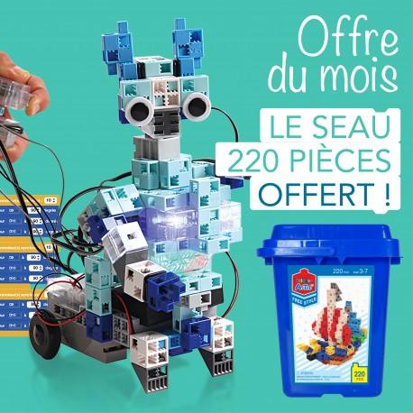 Pack d'un kit Robots élémentaires + 1 seau de briques colorées